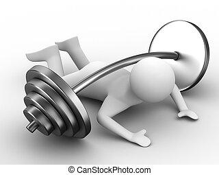 peso-tirante, apertado, baixo, barbell., isolado, 3d, imagem