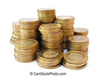 pesos - A pile of coins shot on a white background