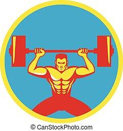 pesos, weightlifter, frente, círculo, levantamento, retro