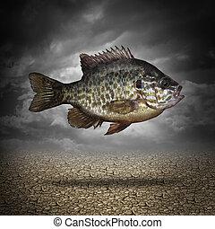 pesque fuera agua