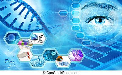 pesquisa científica, conceito, fundo, 3d, ilustração