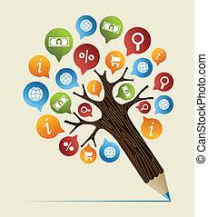 pesquisa, estudos, conceito, lápis, árvore