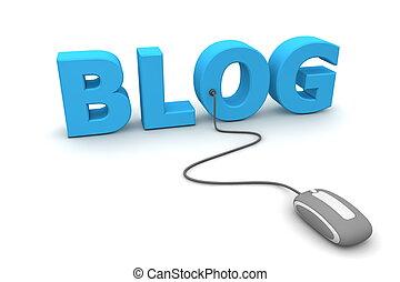 pesquisar, blog, rato, -, cinzento