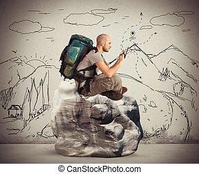 pesquisar, explorador, rede
