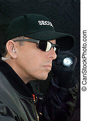 pesquisas, lanterna, guarda de segurança