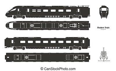 pessenger, silhouette, vehicle., ferrovia, trasporto, train., cima nera, lato, fronte, isolato, moderno, views., locomotiva, blueprint., ferrovia