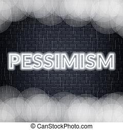Pessimism neon lettering. Sad mood. Vector illustration