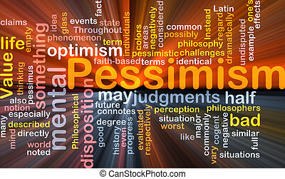 Pessimism word cloud glowing