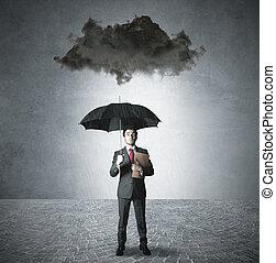 pessimista, em, a, negócio