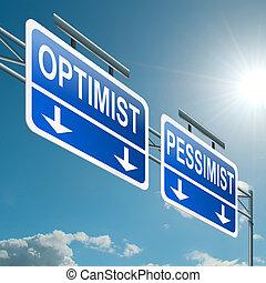 pessimista, otimista, concept., ou