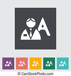 pessoa, único, apartamento, icon.