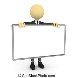 pessoa, 3d, cartaz, em branco