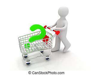 pessoa, 3d, pergunta, pushcart, marca