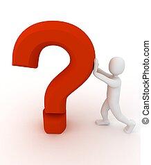 pessoa, 3d, pergunta, sinal