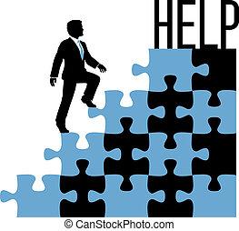 pessoa, ajuda, solução, negócio, achar