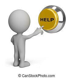 pessoa, botão, apertando, ajuda, 3d