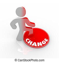 pessoa, botão, cima, pisar, mudança