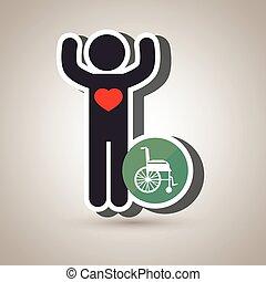 pessoa, cadeira rodas, silueta, coração