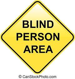 pessoa cega, área, sinal