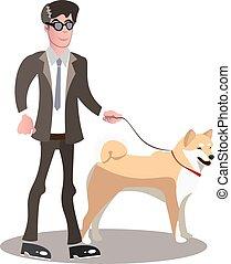 pessoa cega, guia, dog.