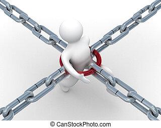 pessoa, chão, em, um, chain., 3d, imagem branco,...
