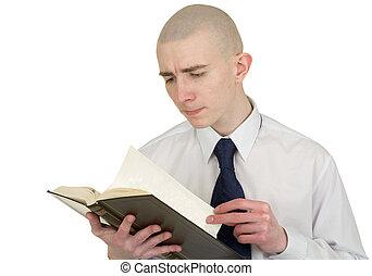 pessoa, com, a, livro, em, mãos