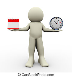 pessoa, com, calandra, e, relógio