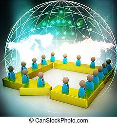 Pessoa, conectado, rede, negócio, um