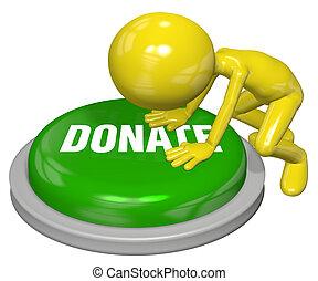 pessoa, dá, site web, doar, botão, empurrão