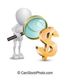 pessoa, dólares, cheque, vidro, magnificar, 3d
