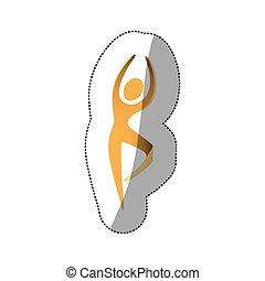 pessoa, dançar, amarela, ícone