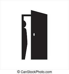 pessoa, desenho, ícone, hidding, porta, costas, pessoas, ilustração, vetorial, silhoutte, esconder, logotipo