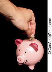 pessoa, dinheiro saving, em, cofre