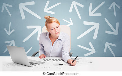pessoa, direção, conceito, escrivaninha, negócio, sentando
