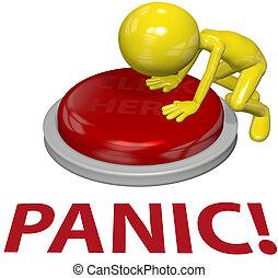 pessoa, empurre botão, pânico, problema, conceito