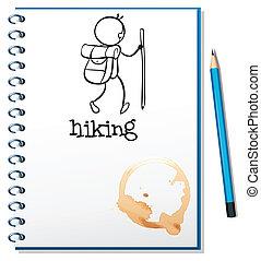 pessoa, esboço, caderno, hiking