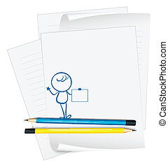 pessoa, esboço, papel, vazio, segurando