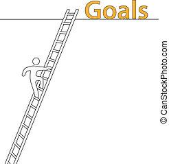pessoa, escalar, cima, escada, alcance, alto, metas