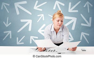 pessoa, escrivaninha, sentando, conceito, negócio, direção