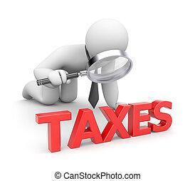 pessoa, examina, impostos