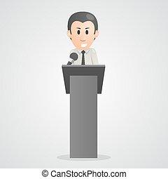 pessoa, fala, em, microfone, pódio