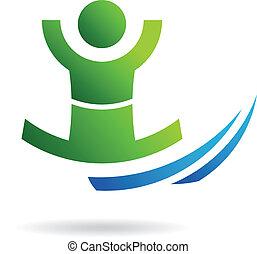 pessoa, imagem, vencedor, logotipo