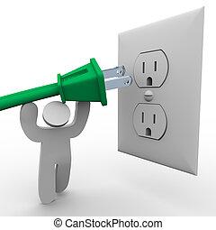 pessoa, levantamento, poder, plugue, para, saída elétrica