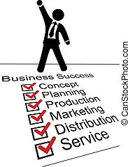 pessoa, lista, sucesso, negócio, cheque