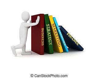 pessoa, livro, negócio, 3d