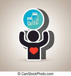 pessoa, médico, silueta, coração