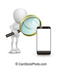 pessoa, móvel, observar, vidro, telefone, magnificar, 3d
