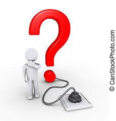 pessoa, marca, pergunta, plugged