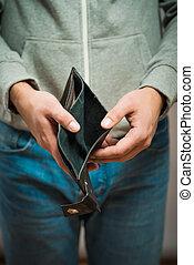 pessoa negócio, -, carteira, segurando, vazio, falência