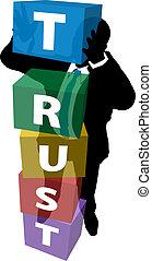 pessoa negócio, constrói, leal, cliente, confiança